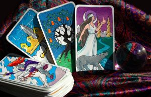 My tarot cards with a crystal ball. Major arcana.